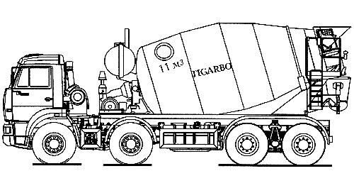 Схема (схематичное изображение) Автобетоносмесителя АБС-11DA (базовое шасси КАМАЗ 65201 8х4) .